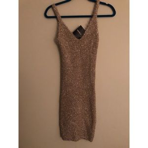 Nude and Gold Knit Dress